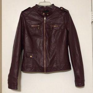 Burgundy faux leather jacket w/ gold hardware